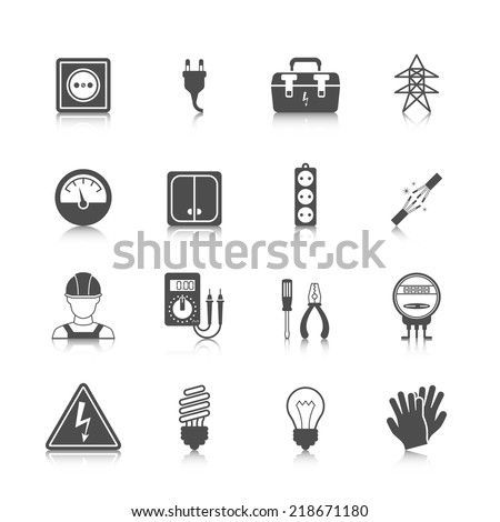 Electricity icon black set with plug socket power station isolated vector illustration - stock vector