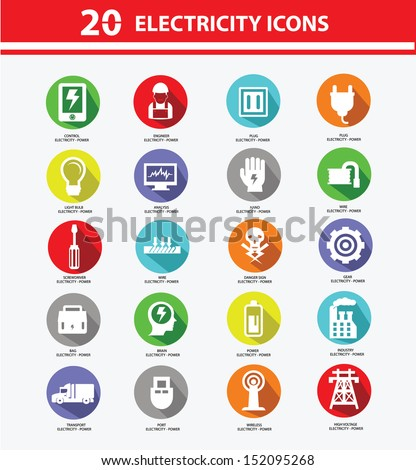 Electricity icon collection,Colorful version,vector - stock vector
