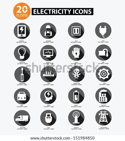 Electricity icon collection,Gray version,vector - stock vector