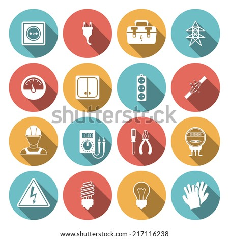 Electricity icon flat set with electronic equipment isolated vector illustration - stock vector