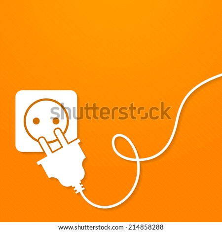 Electricity icon flat with plug and socket on orange background vector illustration - stock vector