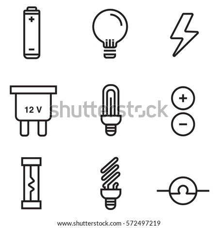 Electricity Icon Set Illustration Design Line Stock Vector 572497219 ...