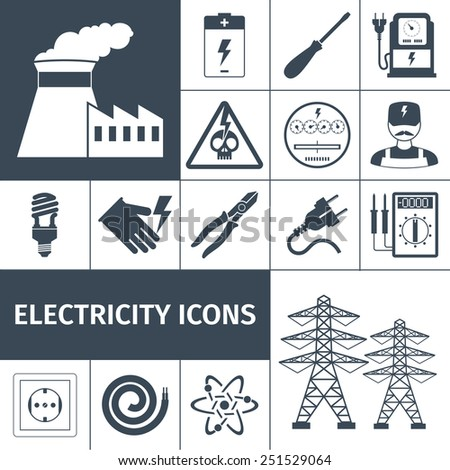 Electricity icons black set with power plant battery screwdriver multimeter isolated vector illustration - stock vector