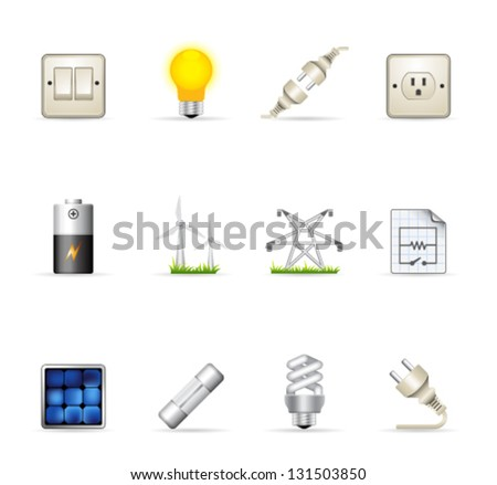 Electricity icons in colors - stock vector