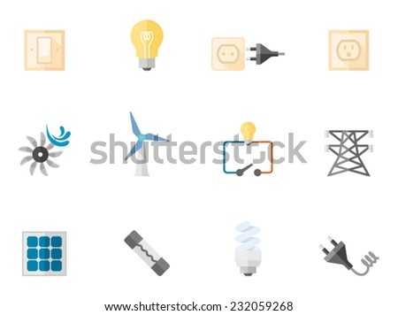 Electricity icons in flat colors style.  - stock vector
