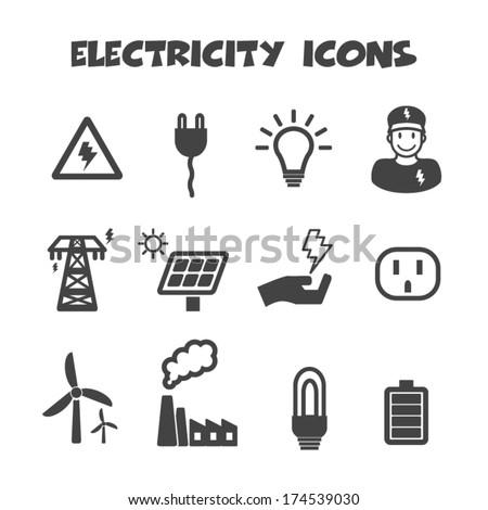 electricity icons, mono vector symbols - stock vector