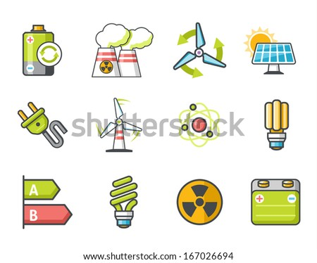 Electricity icons set Colors - stock vector