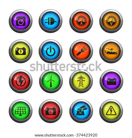 Electricity icons set for web sites and user interface