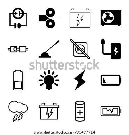 Electricity icons. set of 16 editable filled and outline electricity icons such as arm lever, low battery, air conditioner, flash, bulb, battery, paper press, no plug