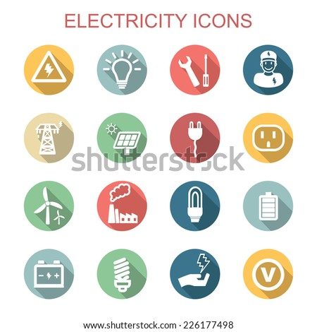 electricity long shadow icons, flat vector symbols - stock vector