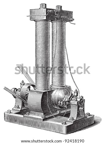 Electricity machine (dynamo electric) by Edison / vintage illustrations from Meyers Konversations-Lexikon 1897 - stock vector