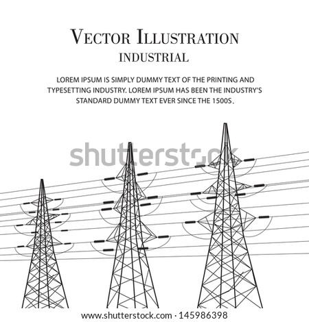 Electricity pole over white. Vector illustration. - stock vector