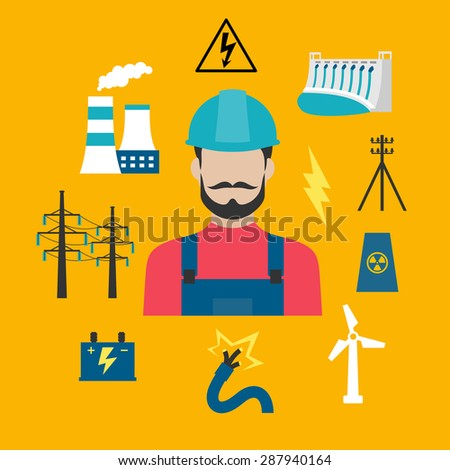 Electricity power industry flat concept design with electric stations of heat, hydro and wind energy, nuclear power plant, power lines, battery and danger warning sign with electrician in a helmet - stock vector
