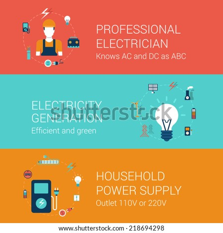 Electricity service concept flat icons set of professional electrician efficient green power generation household supply outlet vector web illustration website click infographics elements collection - stock vector