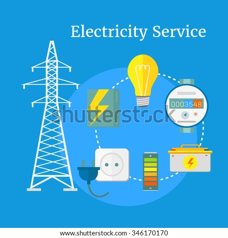 Electricity service flat design. Electric and energy, electrician and electricity icon, power lightning, light bulb and electronics, technology industry illustration - stock vector