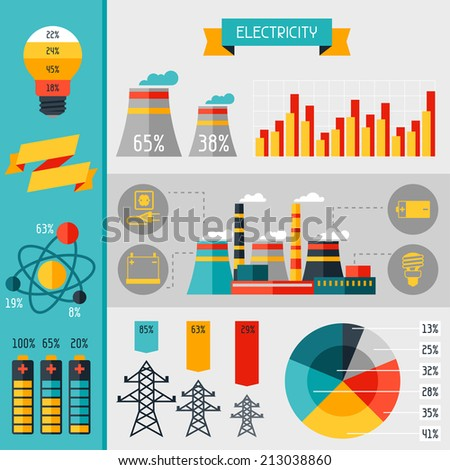 Electricity set of industry power infographic in flat style. - stock vector