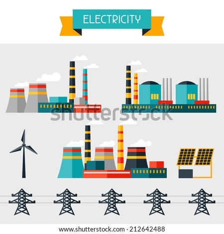 Electricity set of industry power plants in flat design style. - stock vector