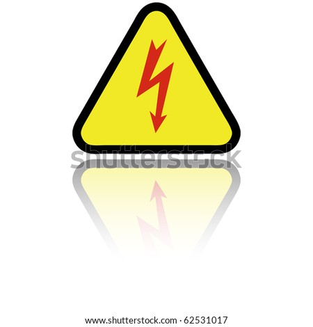 Electricity sign with reflection isolated on white, vector - stock vector