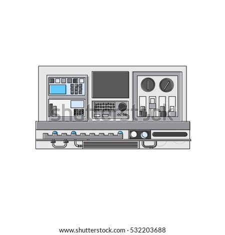 Electricity Technology Generation Industry Resistance Panel Thin Line Vector Illustration
