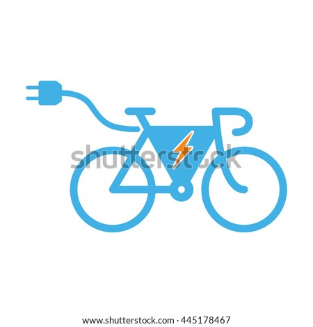 electro bicycle bike e-bike icon on white background