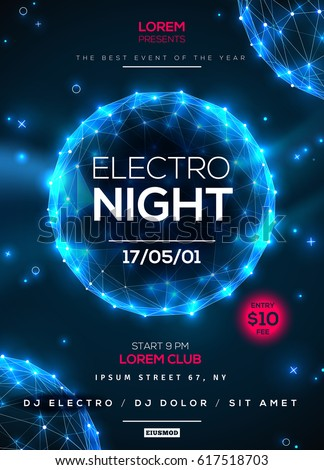 electro night dance party poster templateのベクター画像素材