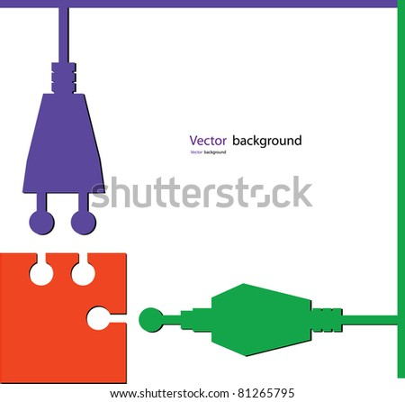 electro puzzle color vector illustration - stock vector