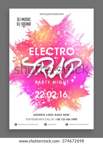 Electro Trap, Party Night celebration Flyer, Banner or Template with abstract design. - stock vector