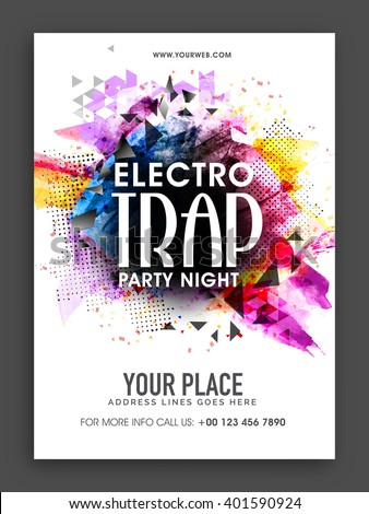 Electro Trap, Party Night Template, Banner or Flyer presentation with colorful abstract design. - stock vector