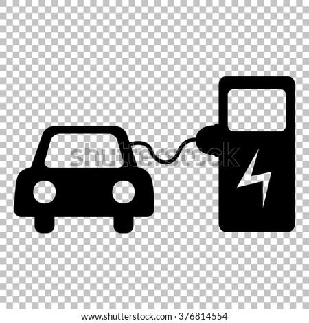 Electrocar battery charging sign. Flat style icon on transparent background - stock vector