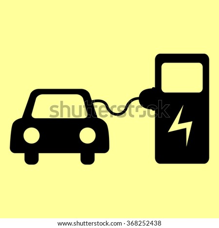 Electrocar battery charging sign. Flat style icon vector illustration. - stock vector