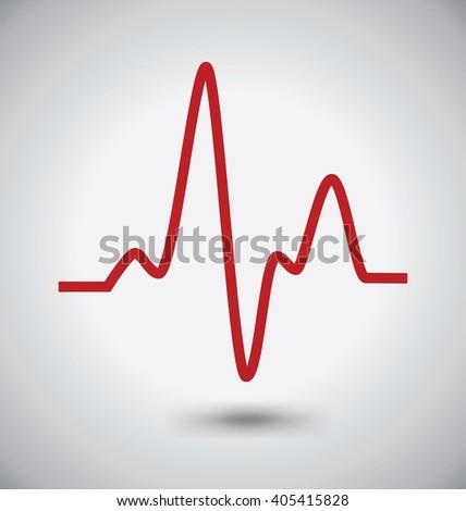 Electrocardiogram Icon, ECG or EKG Icon, Madical Concept - stock vector