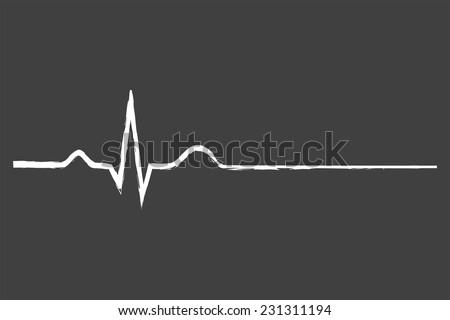Electrocardiogram Last Life Sign On Blackboard - stock vector