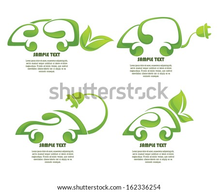 electrocars and ecological transport, vector collection of icons an symbols  - stock vector