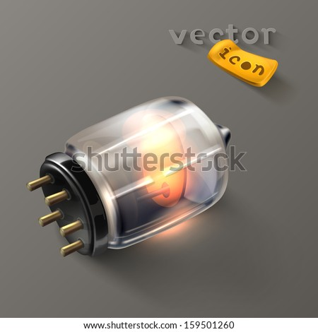 Electron tube icon - stock vector