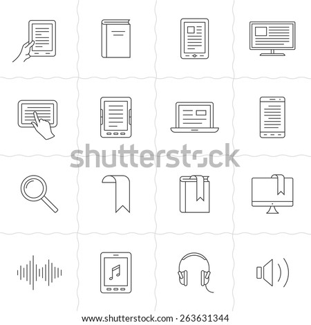 Electronic and audio book linear icons. Simple outlined e-books icons. Linear style - stock vector