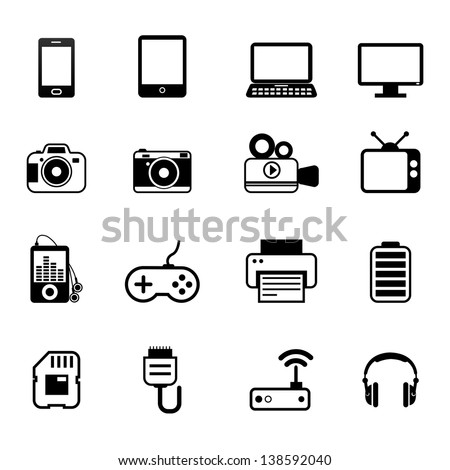 Electronic And Devices Icons Vector - stock vector