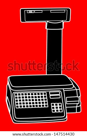 electronic black scale isolated on red  background in white lines vector.  - stock vector