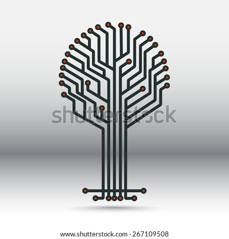 electronic board in the form of a tree - stock vector