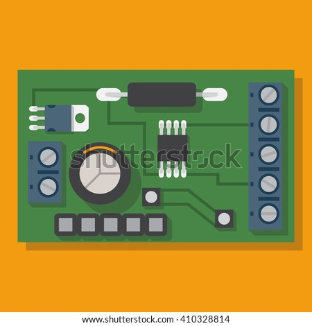 Electronic board. Motherboard, spare computer. Vector illustration flat design. Electronic equipment. Processor pc. Circuit, board with microchip. Computer chipset. - stock vector