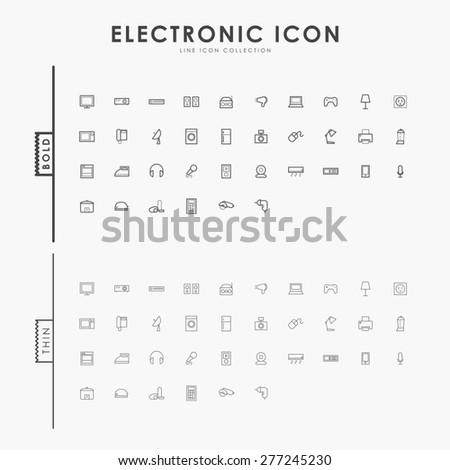 electronic bold and thin line icons - stock vector