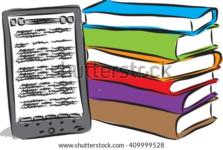 electronic book and books illustration - stock vector