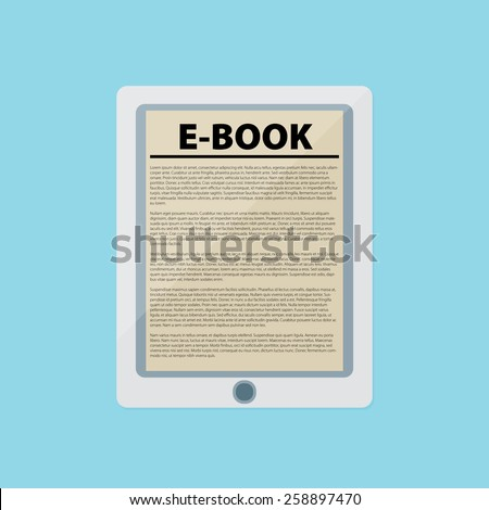 Electronic book, flat design concept. Eps 10 vector illustration