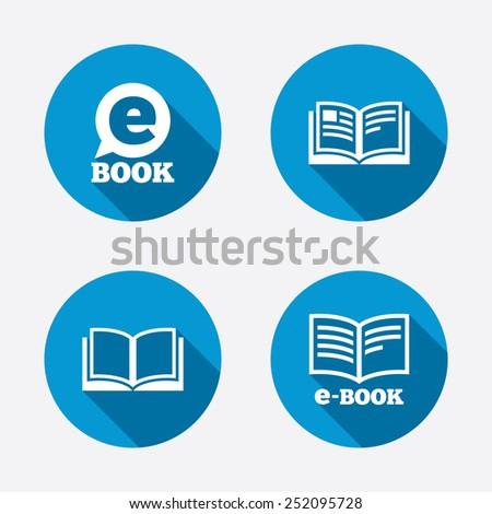 Electronic book icons. E-Book symbols. Speech bubble sign. Circle concept web buttons. Vector - stock vector