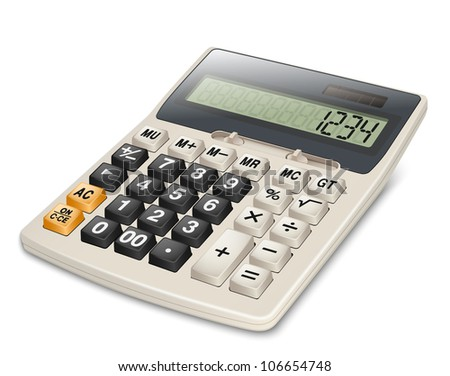Electronic calculator isolated on white background. EPS10 vector. Without gradient mesh - stock vector