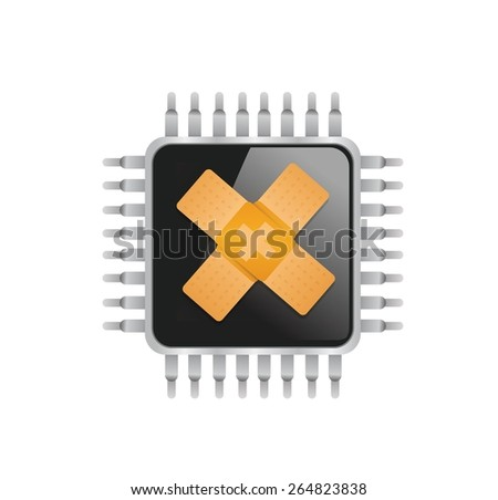 electronic chip band aid fix solution concept illustration design over white background - stock vector