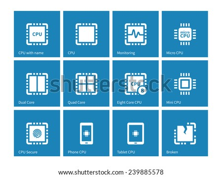 Electronic chip icons on blue background. Vector illustration. - stock vector