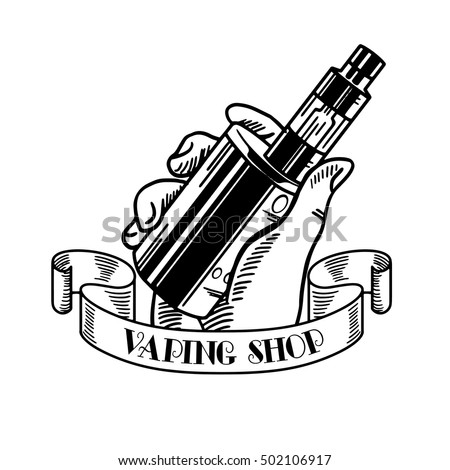 Electronic cigarette and liquid, Vape shop vector monochrome badges, emblems