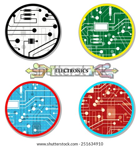 electronic circuit, a set of round-icons, abstract, vector illustration - stock vector