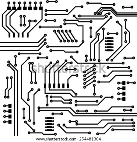 Electronic circuit background. Vector illustration.  - stock vector