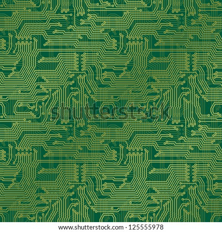 Electronic circuit board. Tileable seamless repeating vector background. Continuous pattern left, right, up and down - stock vector
